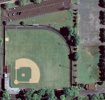 An aerial view of historic Quakertown Memorial Stadium